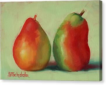 Canvas Print featuring the painting Pear Pair by Margaret Stockdale