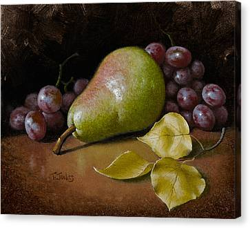 Pear With Birch Leaves Canvas Print by Timothy Jones