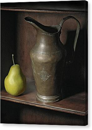 Canvas Print featuring the photograph Pear With Water Jug by Krasimir Tolev