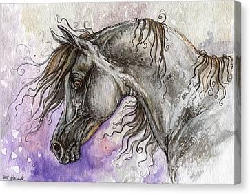 Pearl Arabian Horse Canvas Print by Angel  Tarantella