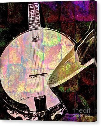 Pearl Digital Banjo And Guitar Art By Steven Langston Canvas Print by Steven Lebron Langston