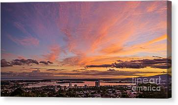 Canvas Print featuring the photograph Pearl Harbor At Sunset by Aloha Art