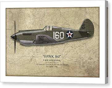 Pearl Harbor P-40 Warhawk - Map Background Canvas Print by Craig Tinder