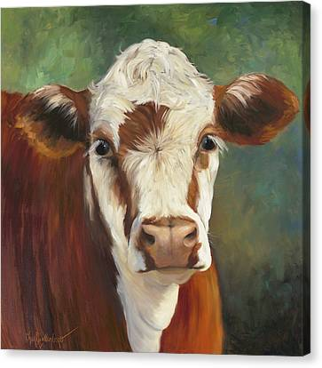 Pearl Iv Cow Painting Canvas Print by Cheri Wollenberg