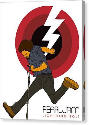 Pearl Jam Canvas Print - Pearl Jam Lightning Bolt by Tomas Raul Calvo Sanchez