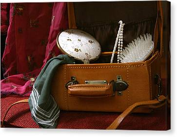 Pearls And Brush Set In A Suitcase Canvas Print
