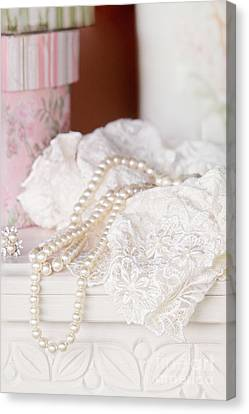 Pearls And Lacy Lingerie Canvas Print by Stephanie Frey