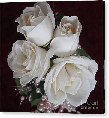 Pearls And Roses Canvas Print by Nancy TeWinkel Lauren