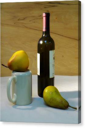 Pears And Wine Canvas Print by Deborah  Crew-Johnson
