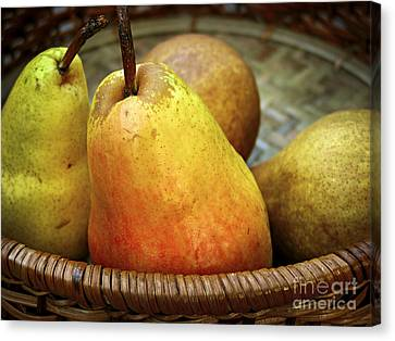 Value Canvas Print - Pears In A Basket by Elena Elisseeva