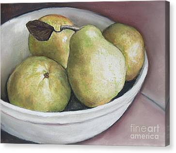 Pears In Bowl Canvas Print by Charlotte Yealey