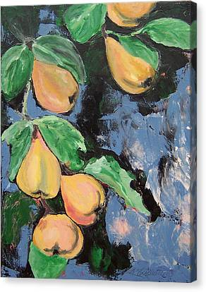 Canvas Print featuring the painting Pears by Krista Ouellette