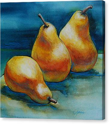 Canvas Print featuring the painting Pears Of Three by Jani Freimann