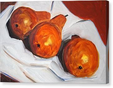 Pears On Cloth Canvas Print by Nancy Merkle