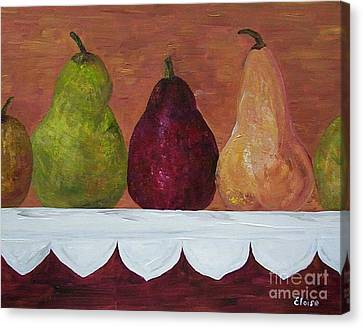 Canvas Print featuring the painting Pears On Parade   by Eloise Schneider
