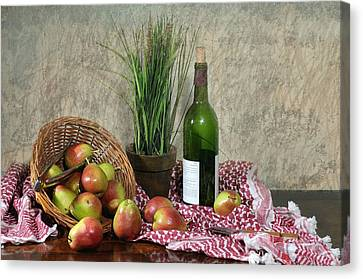 Pears On Red Cloth Canvas Print by Diana Angstadt