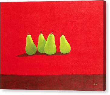 Pears On Red Cloth Canvas Print by Lincoln Seligman