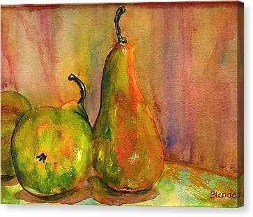 Pears Still Life Art  Canvas Print by Blenda Studio