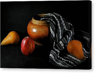 Pears'n Pot Canvas Print by Diana Angstadt