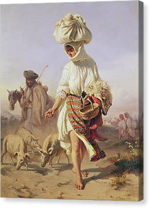 Peasant Girl Feeding Pigs Canvas Print