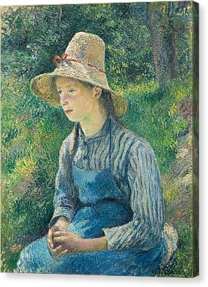 Peasant Girl With A Straw Hat Canvas Print by Camille Pissarro