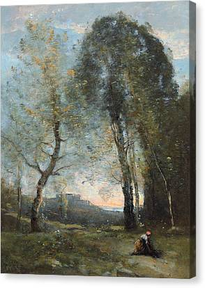 Peasant Woman Collecting Wood Canvas Print by Jean Baptiste Camille Corot