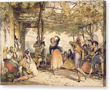 Peasants Dancing The Bolero Canvas Print by John Frederick Lewis