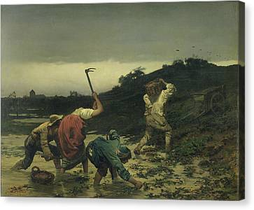 Peasants Harvesting Potatoes During The Flood Of The Rhine In 1852 Oil On Canvas Canvas Print by Gustave Brion