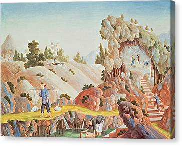 Chinese Peasant Canvas Print - Peasants Quarrying And Collecting Kaolin For A Porcelain Factory by Chinese School