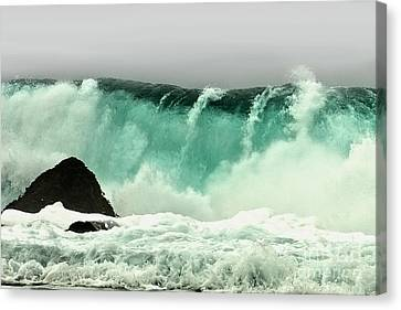 Pebble Beach Crashing Wave Canvas Print by Artist and Photographer Laura Wrede