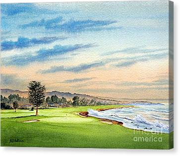 Canvas Print featuring the painting Pebble Beach Golf Course 18th Hole by Bill Holkham