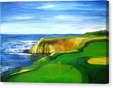 Canvas Print featuring the painting Pebble Beach Golf Course by Sheri  Chakamian