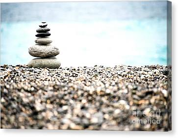Pebble Stone On Beach Canvas Print by Yew Kwang