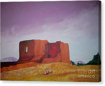 Canvas Print featuring the painting Pecos Mission Landscape by Eric  Schiabor