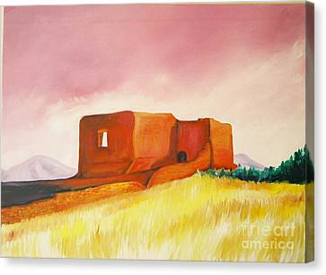 Canvas Print featuring the painting Pecos Mission Nm by Eric  Schiabor