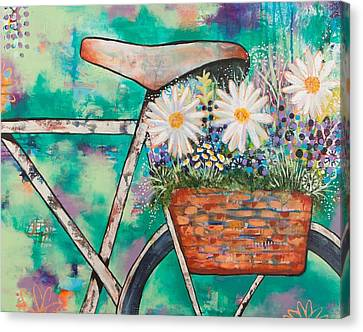 Bicycle With Flowers Canvas Print - Pedal Petal by Amber Malarsie Moritz