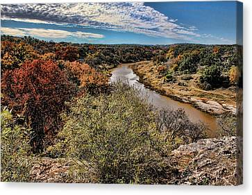 Brown Ranch Trail Canvas Print - Pedernales River In Autumn by Judy Vincent