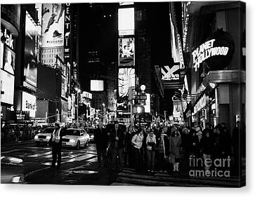 Pedestrians Waiting At Crosswalk Times Square New York City Night Canvas Print by Joe Fox