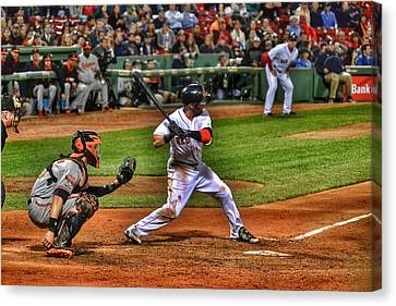 Pedroia At Bat Canvas Print