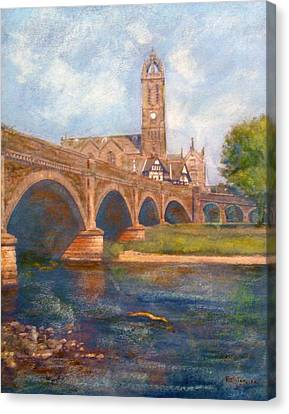 Peebles  Bridge Inn And Parish Church Canvas Print by Richard James Digance