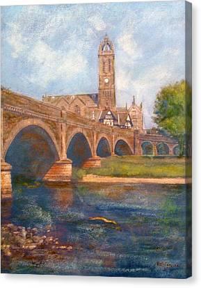Peebles  Bridge Inn And Parish Church Canvas Print by Richard James Digance