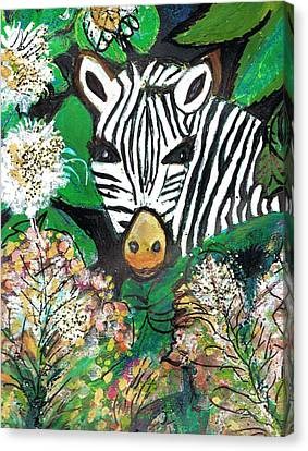 Peek-a-boo Zebra Canvas Print by Anne-Elizabeth Whiteway
