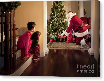 Peeking At Santa Canvas Print