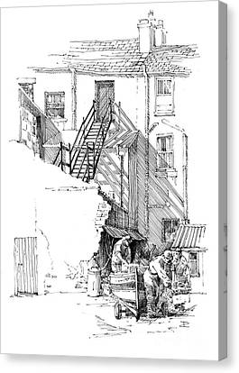 Canvas Print featuring the drawing Peel Back Street by Paul Davenport