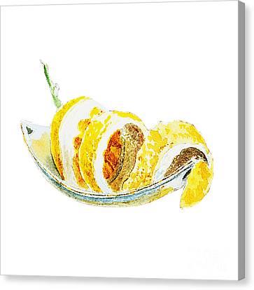 Peeled Lemon Canvas Print by Irina Sztukowski
