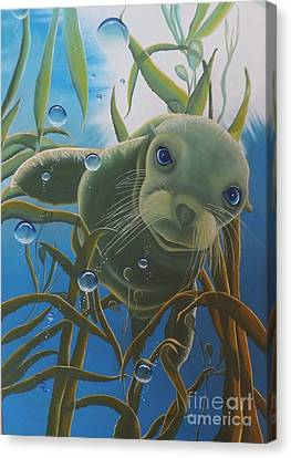 Canvas Print featuring the painting Peepers by Dianna Lewis