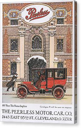 Peerless 1910s Usa Cars Winter Snow Canvas Print by The Advertising Archives