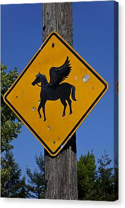 Pegasus Road Sign Canvas Print by Garry Gay