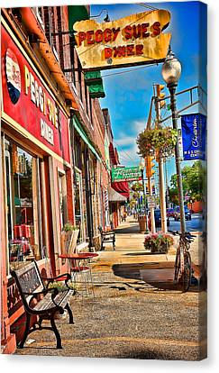 Peggy Sues Diner Canvas Print - Peggy Sue's Diner Chesterton Indiana by Joey Lax-Salinas
