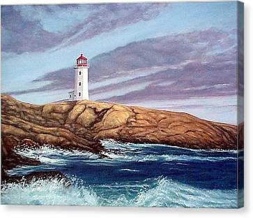 Peggy's Cove Light Canvas Print by Fran Brooks